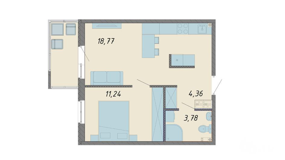 Чтобы разграничить пространство кухни и коридора в таком проекте, можно на входе использовать керамогранитную плитку, которая не боится грязи и перепадов температур, а на кухне — другое по цвету и фактуре покрытие. Фото: ЮИТ