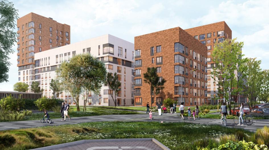 Дом на Золотистом бульваре, первую очередь которого «Форум-групп» построит в III квартале 2021 года. Как и здание на Лучистой, он будет выходить на большой сквер, который начнут благоустраивать этом году.