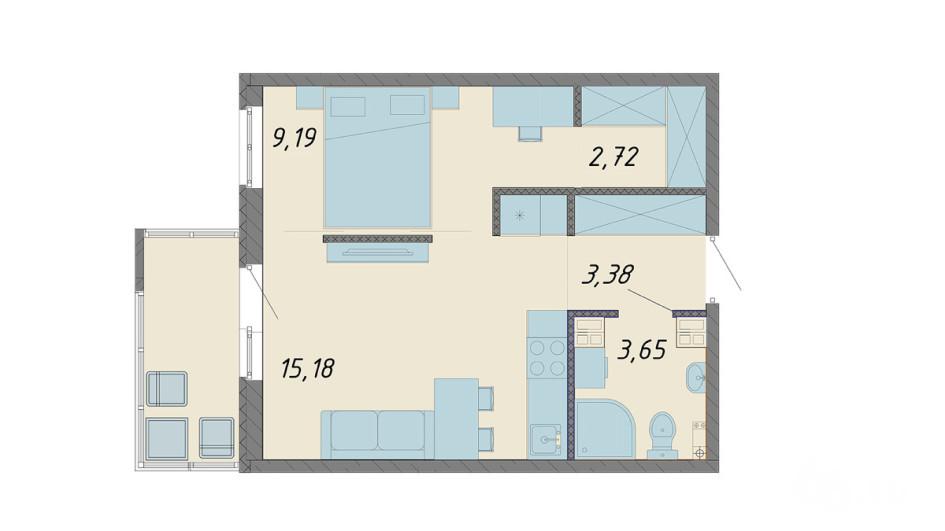 Общая площадь квартиры — всего 34 м2. В ней уместились: санузел, кухня-гостиная, спальня, рабочее пространство и гардеробная. В типовой однокомнатной хрущевке на 31 м2 на кухню уходило 6 м2, а 18 — на спальню, которая брала на себя роль и гардеробной, и гостиной. Фото: ЮИТ