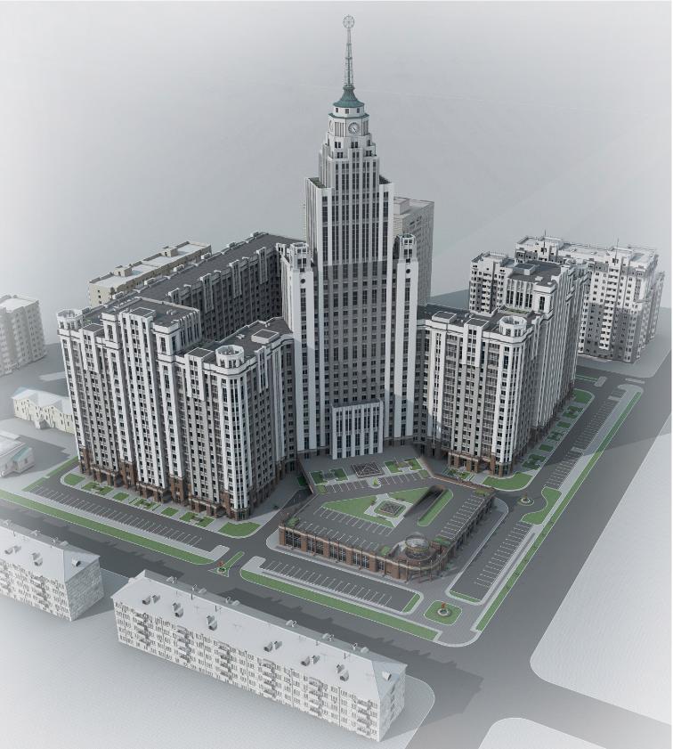 Каждая из частей комплекса имеет собственную доминанту: помимо центрального высотного объема высотой 153 метра, есть еще два 18-этажных объема, доминирующих в линии 15-этажных корпусов, соответственно, по ул. Степана Разина и ул. Щорса. Кроме того, центральный высотный объем «Квартала Федерация» выполняет роль градостроительной высотной доминанты общегородского значения, располагаясь на главной оси города — оси Городского пруда.