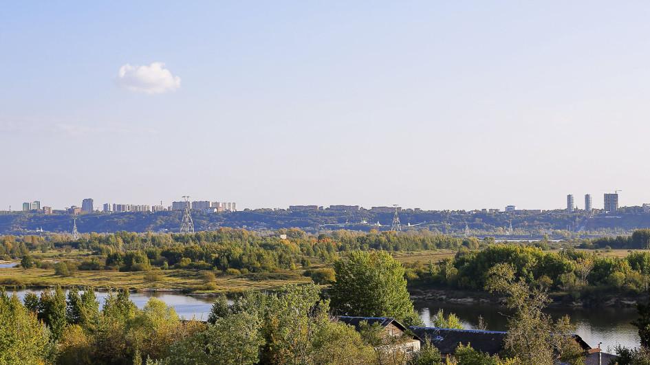 Вид на исторический центр Нижнего Новгорода из окон будущих квартир ЖК «Сергиевская Слобода»