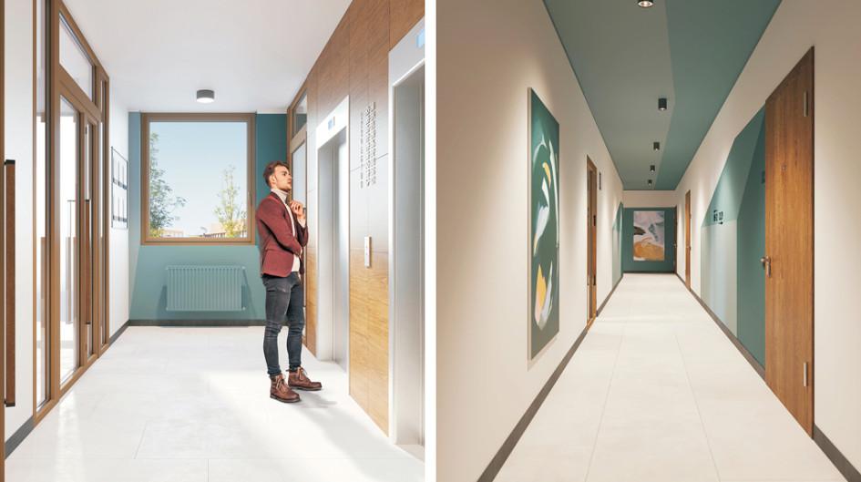 Дом на Лучистой. Дизайн вестибюлей, лифтовых холлов, межквартирных коридоров разрабатывают с профессиональными дизайнерами, чтобы каждый дом получился индивидуальным, а места общего пользования — уютными и одновременно практичными.