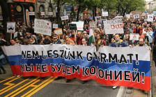 <p>Демонстрации вБудапеште, Венгрия. 22 апреля 2017 года</p>
