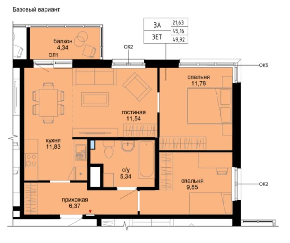 Молодая семья покупает квартиру, их пока только двое. Они делают отдельную кухню (хотя при желании ее можно совместить с гостиной), отдельную гостиную и изолированную спальню. Потом у них появится ребенок. Большинство семей в этой ситуации будут вынуждены искать себе квартиру побольше, а в случае с жильем -трансформером проблемы организовать детскую не возникнет. Фото: ЮИТ