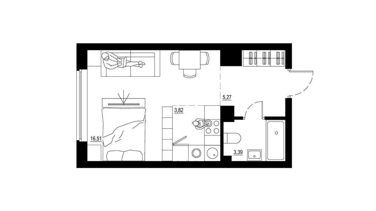 Следующий вариант больше на 3 кв. м, но здесь уже появляется отдельное спальное место. Можно также поставить диван-кровать, чтобы могли остаться на ночь гости. Стоить такая квартира будет на 70 тыс. руб. больше — от 2,3 млн руб.