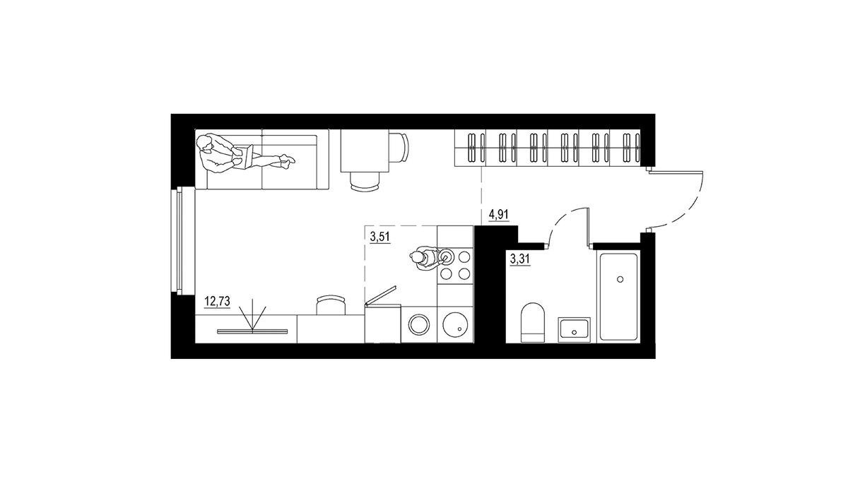 Базовый вариант студии предполагает, что здесь будет жить один человек или молодая пара. Предусмотрено рабочее и спальное место (диван-кровать), небольшая кухня, санузел с ванной. Площадь базовой студии — 25 кв. м, стоимость начинается от 2,23 млн руб.