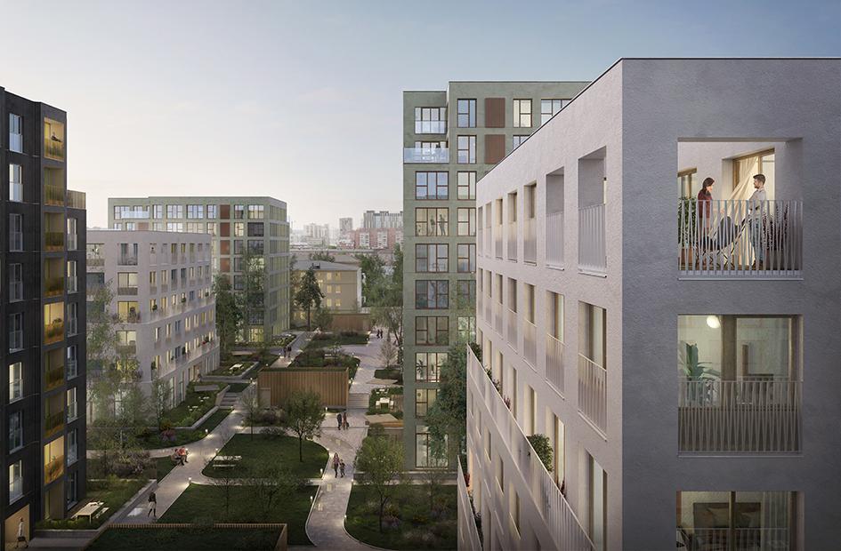 Зелёное парковое пространство окружает дома и задает городской контекст