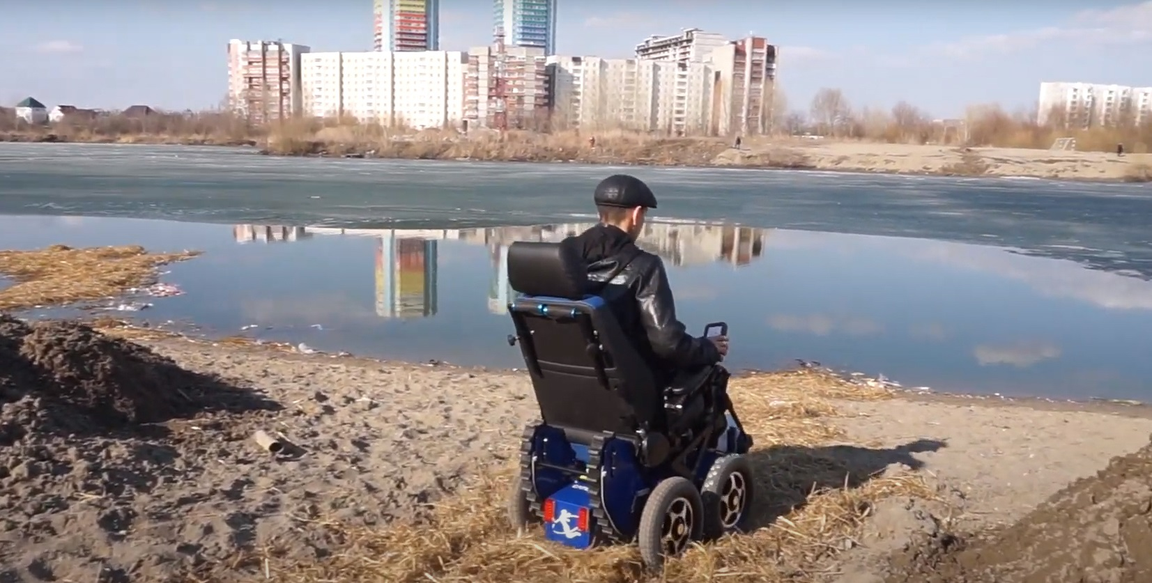 Испытания коляски CaterwilGTS 4WD на берегу озера у Юго-Западного жилмассива