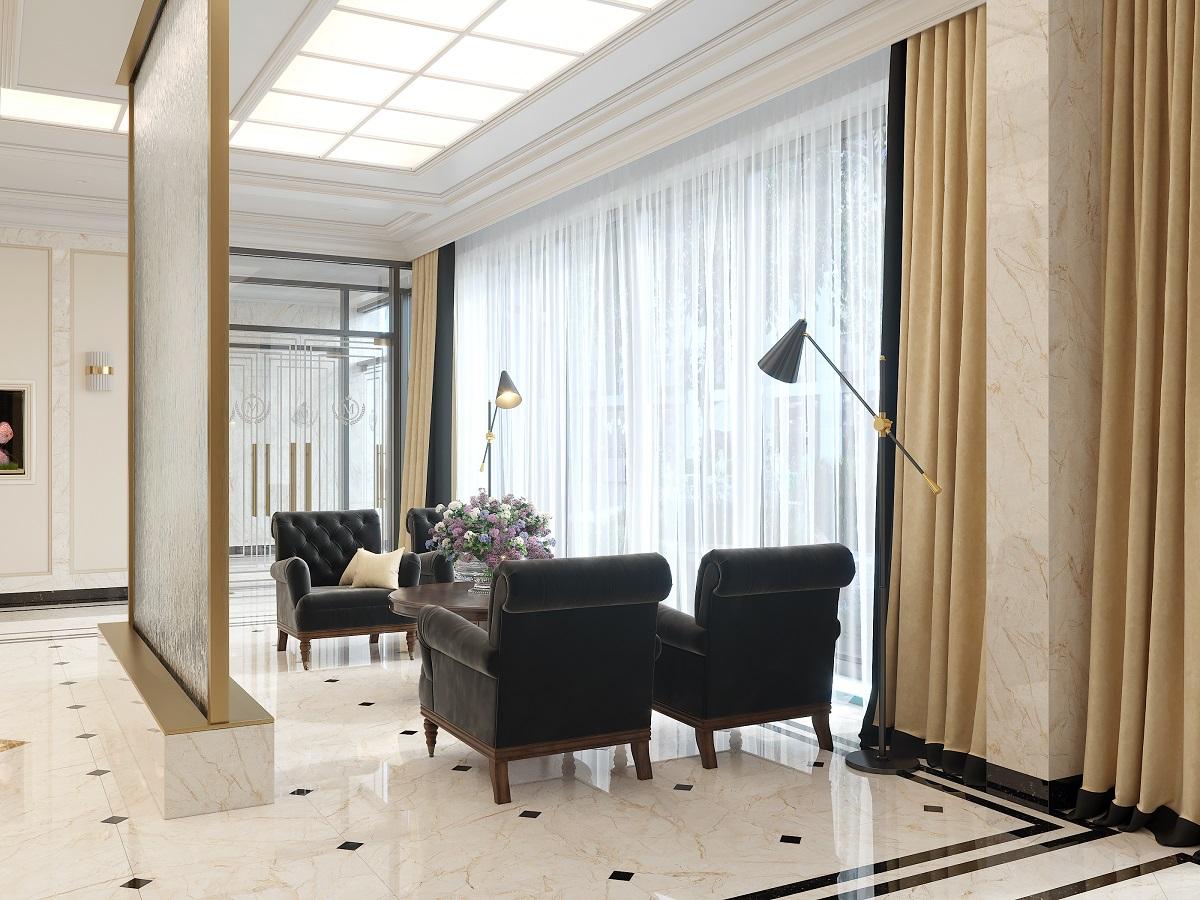 В огромном холле первого этажа предусмотрена зона ожидания, а также лобби с витражными окнами и ресепшн. Здесь продумана специально оборудованная комната для встреч и отдыха жителей - каминная