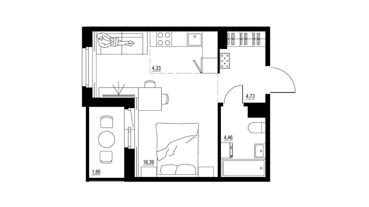 Еще более продвинутое и чуть более дорогое планировочное решение квартиры-студии подразумевает лоджию и дополнительное пространство, которое можно оборудовать под небольшую гардеробную.