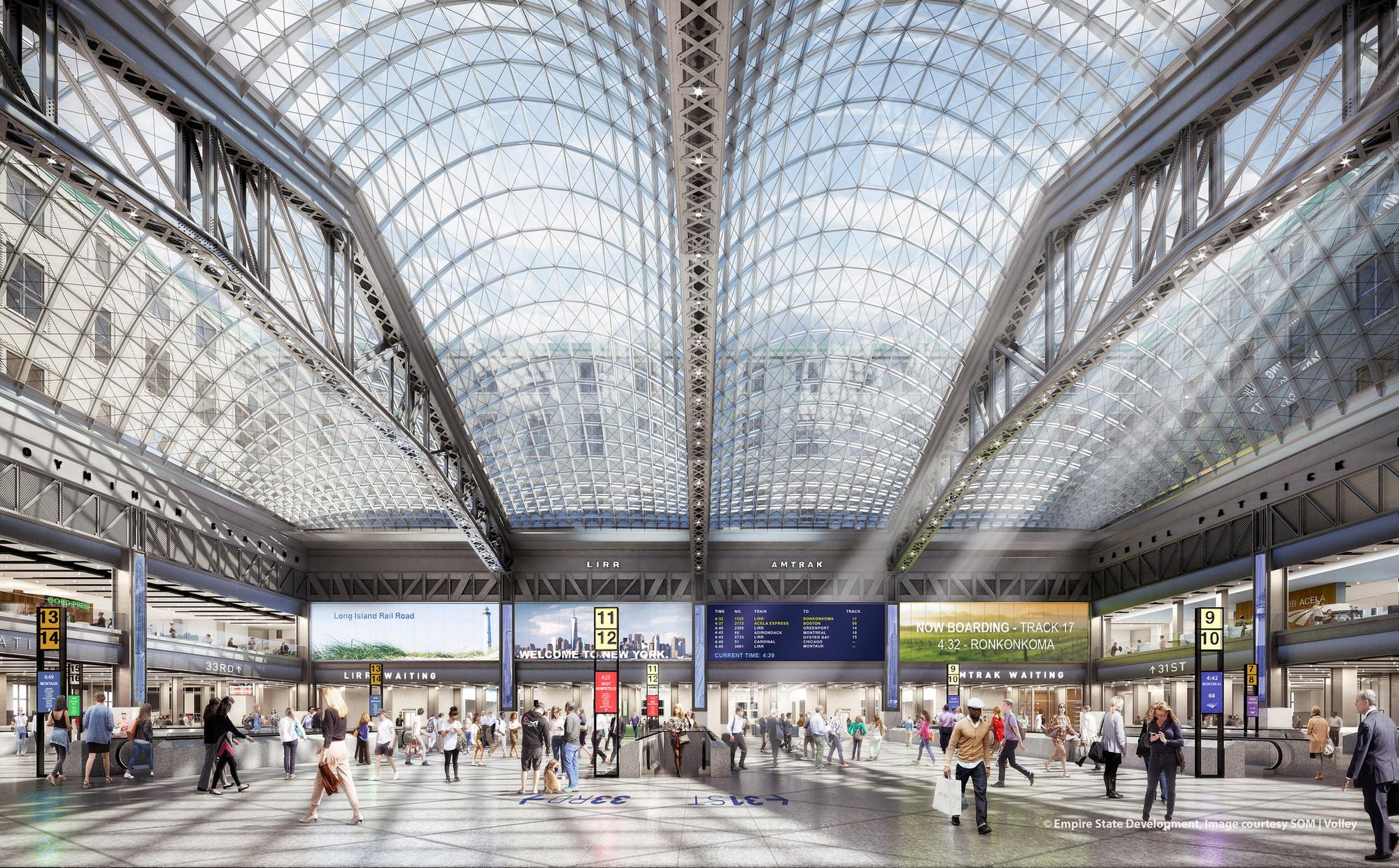 Площадь остекления крыши Penn Station составит 4тыс.кв. м
