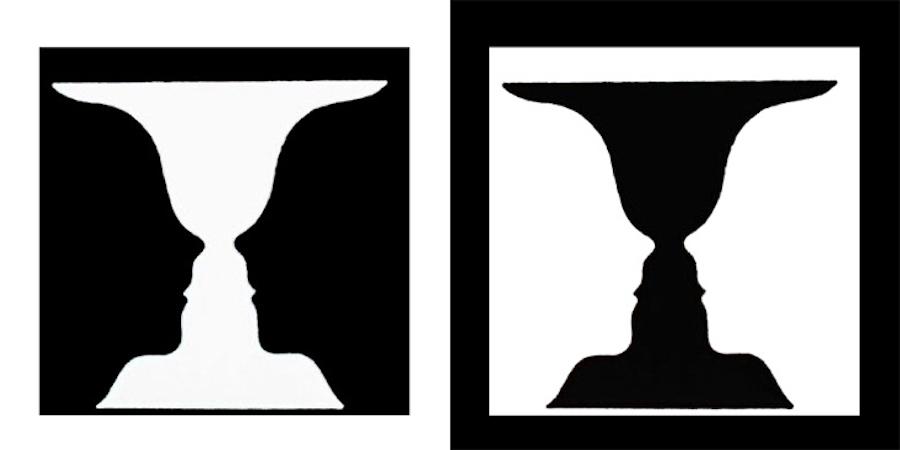 Ваза Рубина —классическое изображение обращающихся фигур, используемое в гештальтпсихологии