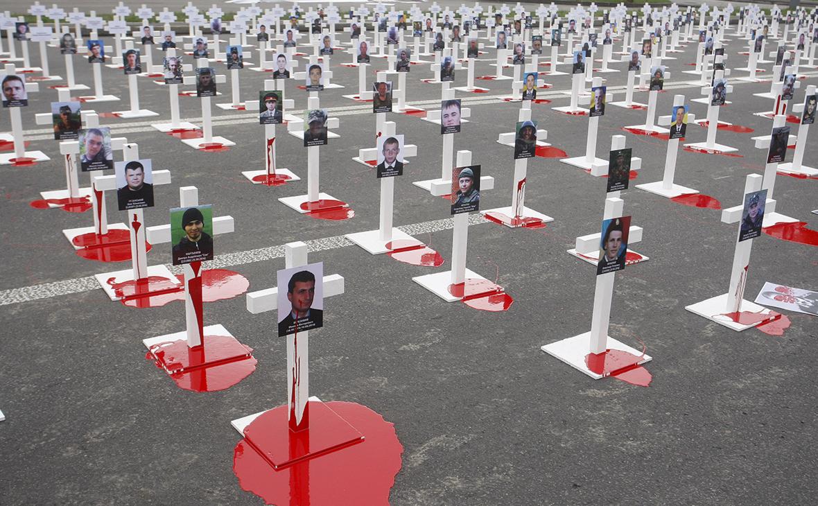 Акция памяти украинских военнослужащих, погибших под Иловайском