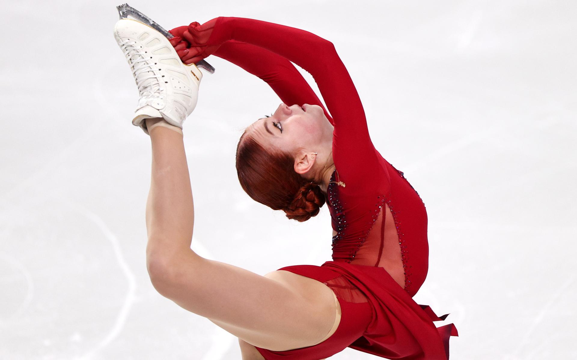Александра Трусова во время короткой программы на контрольных прокатах сборной России
