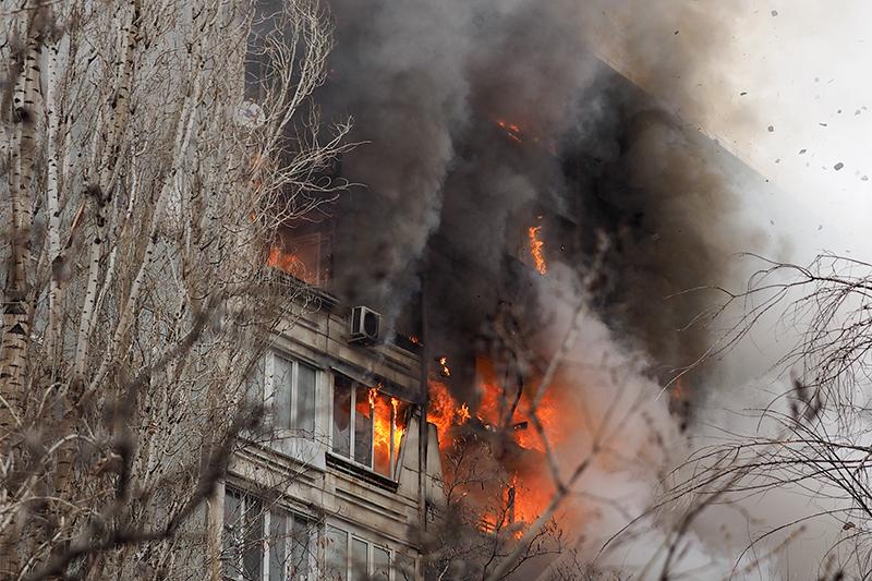 Пожар наместе взрыва