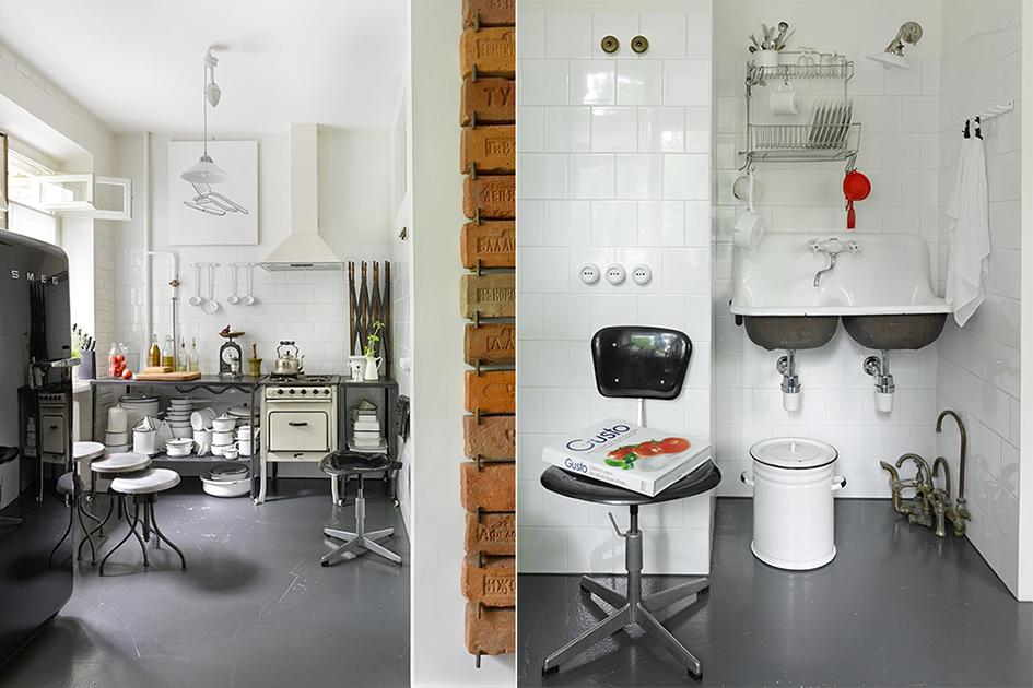 Слева: кухня схарактерным чайником игазовой плитой изСССР. Справа: двойная эмалированная раковина сорокалетней давности служит посвоему прямому назначению