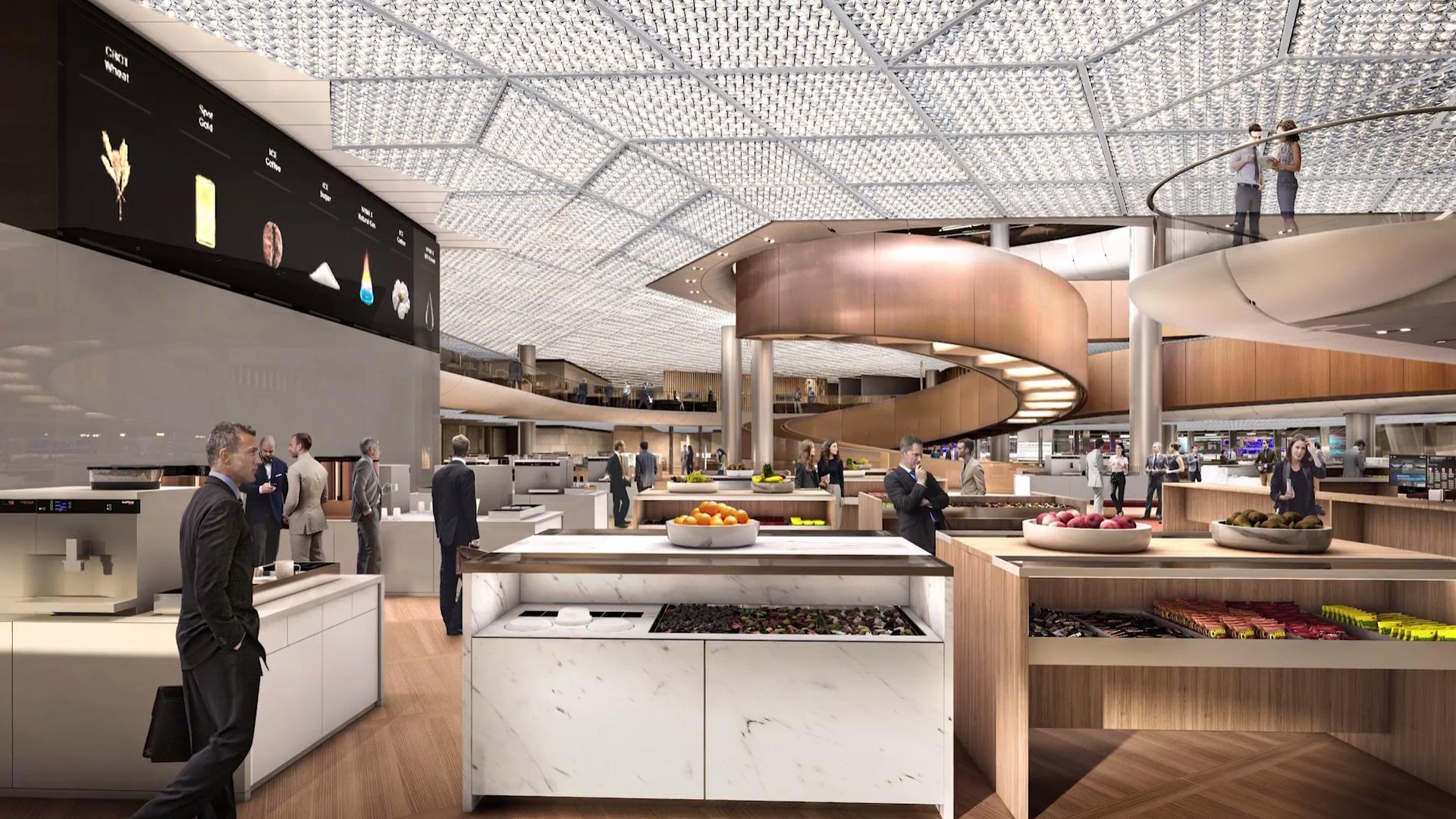 Вдоль пешеходного пространства на нижнем этаже офиса будут располагаться две плазы с магазинами и ресторанами, доступные для всех желающих
