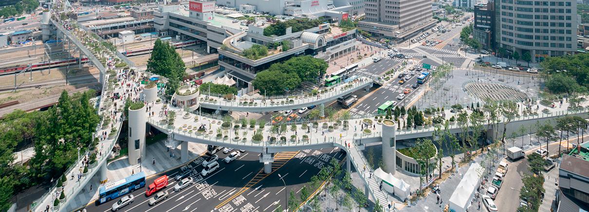 «Висячий» парк Seoullo в Сеуле