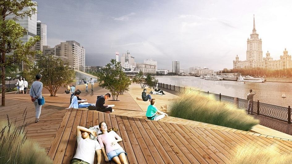 Напротив парка «Красная Пресня» с помощью специальной деревянной платформы будет создана крупная зона отдыха у воды