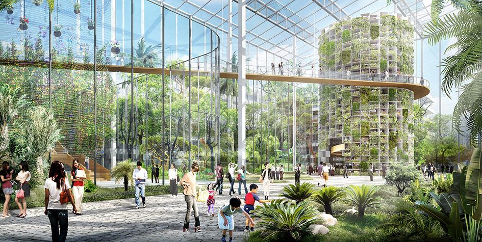 Визуализация сельскохозяйственного района Санкьяо вШанхае