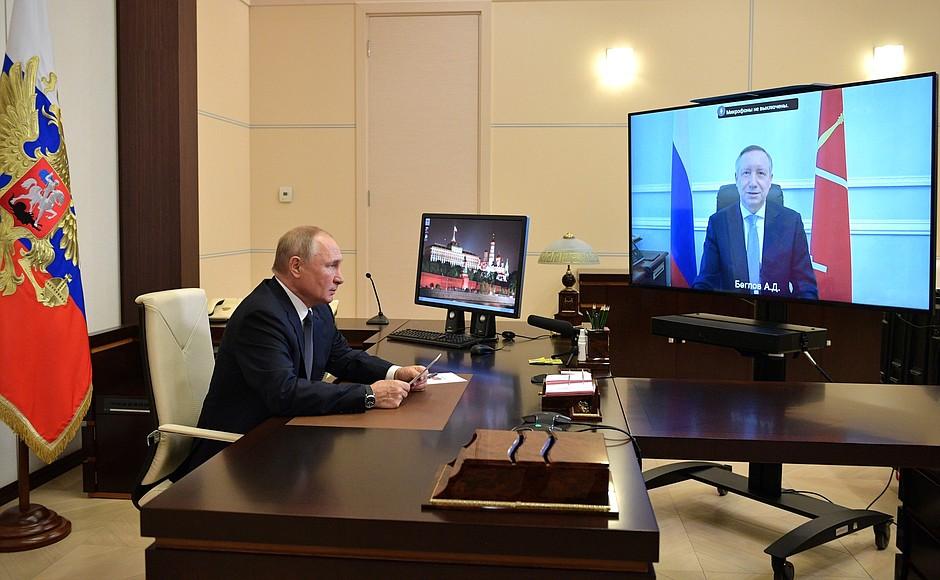 Видеоконференция президента РФ Владимира Путина с губернатором Петербурга Александром Бегловым