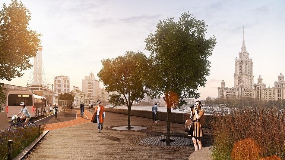 Тротуары здесь расширят на два метра, озеленят, установят уличную мебель, фонари и стенды с бесплатным Wi-Fi