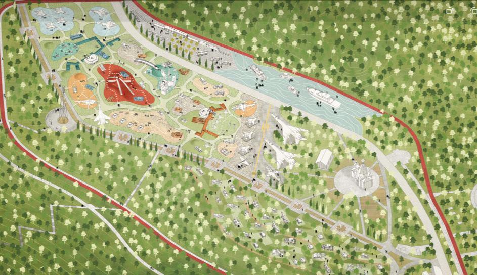 Карта проекта парка Победы по проекту консорциума под руководством Citymakers