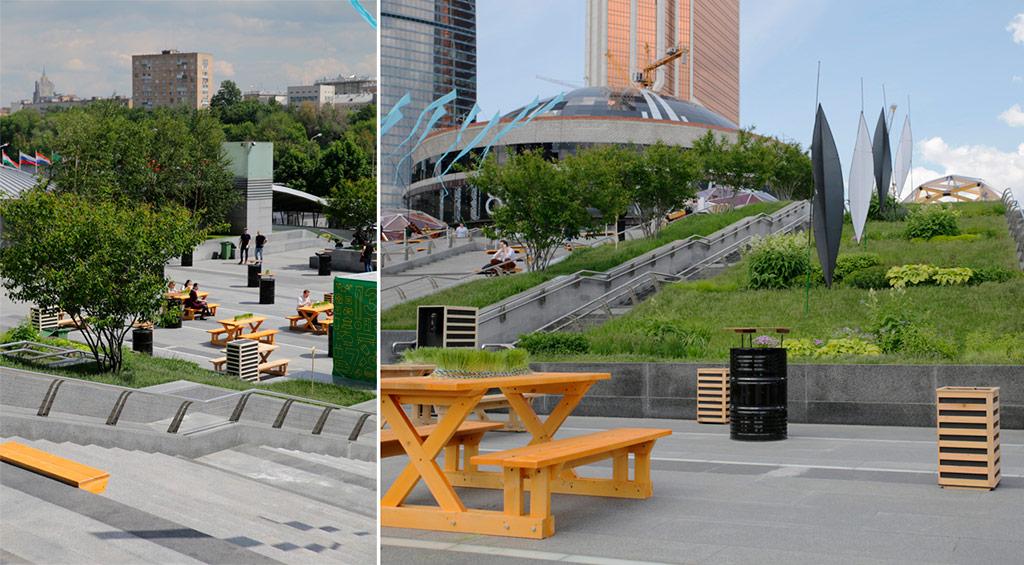 Новое городское пространство представляет собой двухуровневый амфитеатр