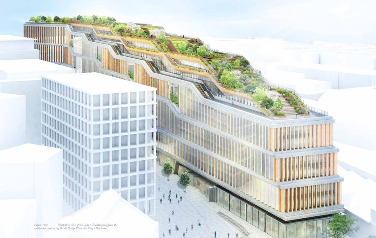 Особое внимание впроекте уделено зеленой террасе накрыше здания. Предполагается создать целый парк спрогулочными зонами, беговыми дорожками икафе сбесплатными едой инапитками дляработников ипосетителей