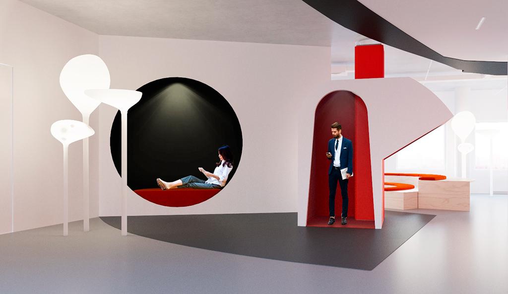 В придуманных дизайнерами IND Office комнатах дляотдыха можно перекусить, поговорить потелефону идаже поспать