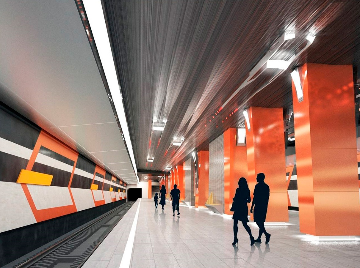Станцию метро «Боровское шоссе» архитекторы решили отождествить с одноименной транспортной артерией — Боровским шоссе. Вестибюли будут украшены элементами, ассоциирующимися с магистралью — это контрастное сочетание предупреждающих цветов, навигационная разметка, прожекторы уличного освещения, а также светильники в виде корпусов машин