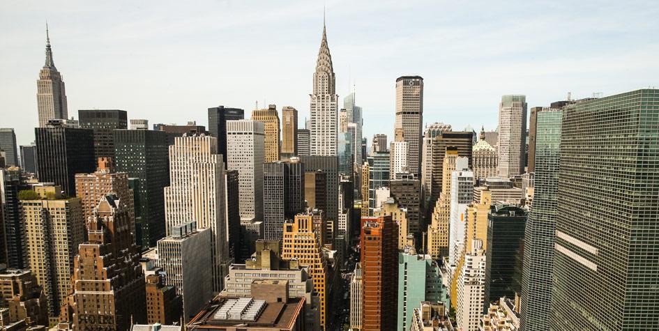 Вид на небоскребы в районе Манхэттен