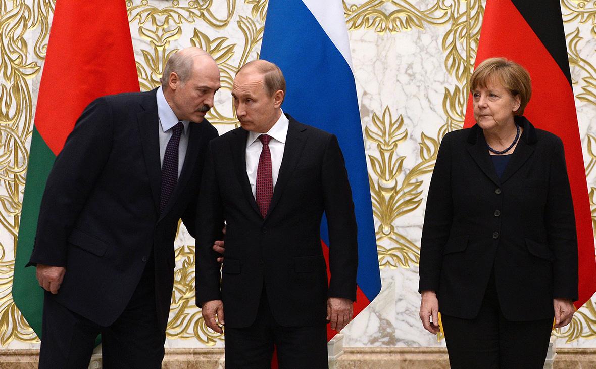 Александр Лукашенко, Владимир Путин и Ангела Меркель
