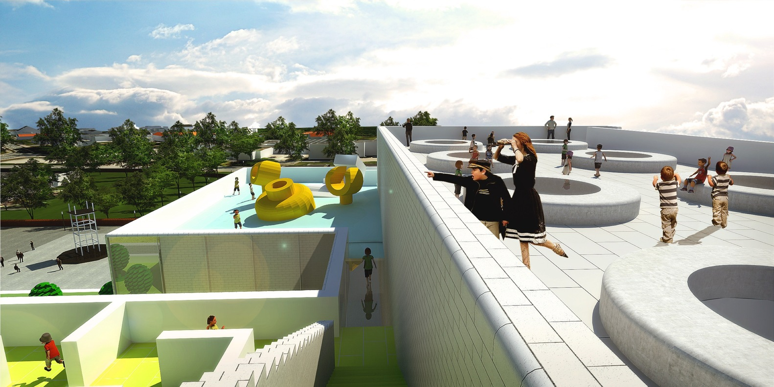 Здание построено вформе игрушки, собранной изкирпичиков LEGO