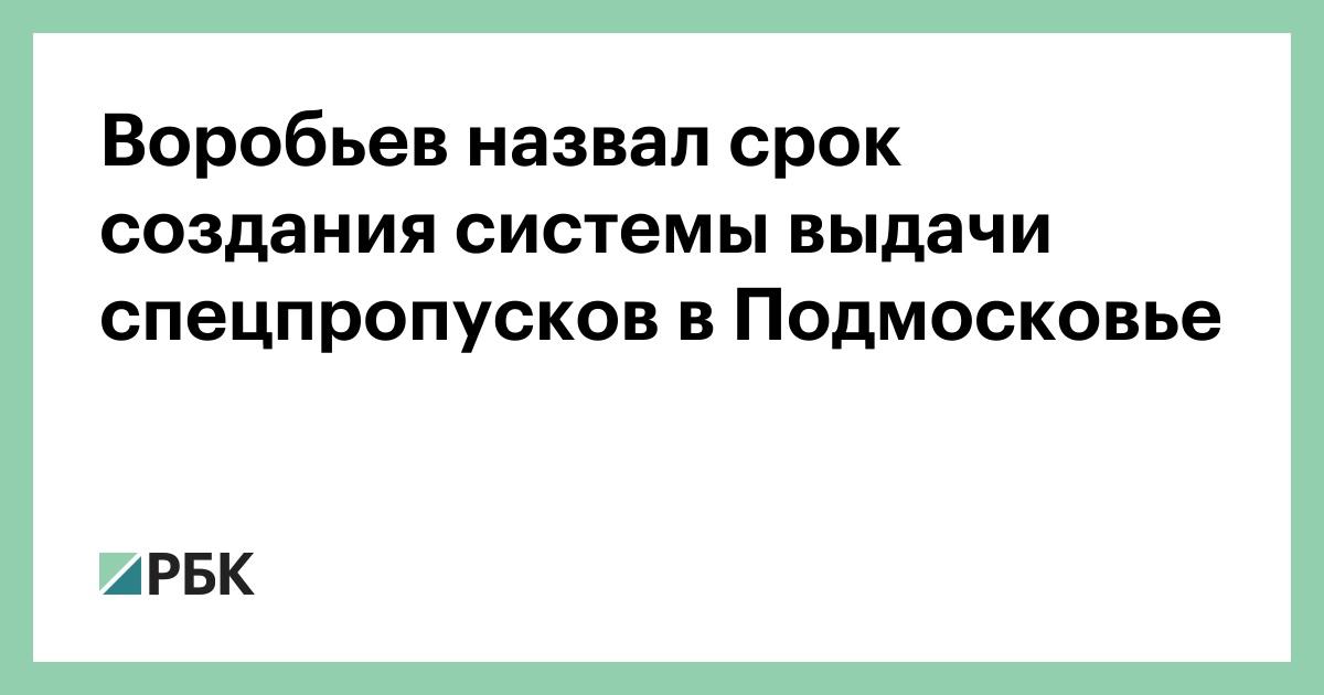 Воробьев назвал срок создания системы выдачи спецпропусков в Подмосковье