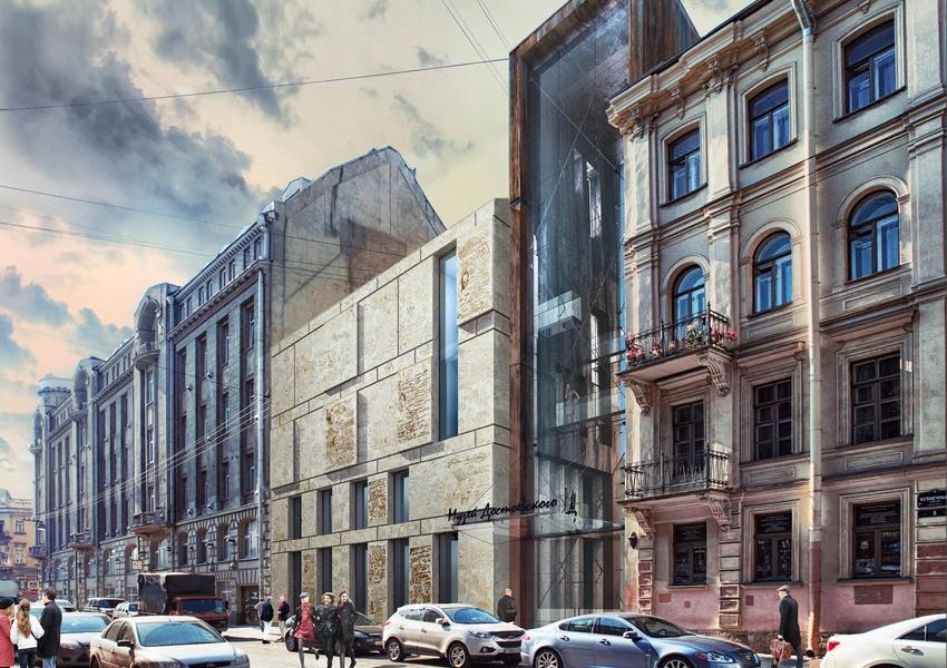 На пустыре рядом с литературно-мемориальным музеем Достоевского в Санкт-Петербурге архитектор Евгений Герасимов предлагает построить новый корпус