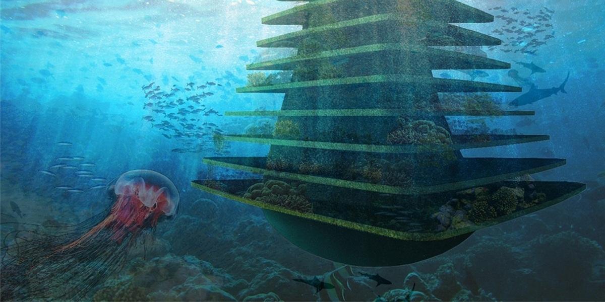 Сооружение крепится к морскому дну. Здесь будут как надводная, так и подводная части. В доме-дереве смогут жить птицы, рыбы, грызуны и насекомые