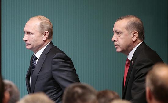 Президент России Владимир Путин и президент Турции Реджеп Тайип Эрдоган. Архивное фото.