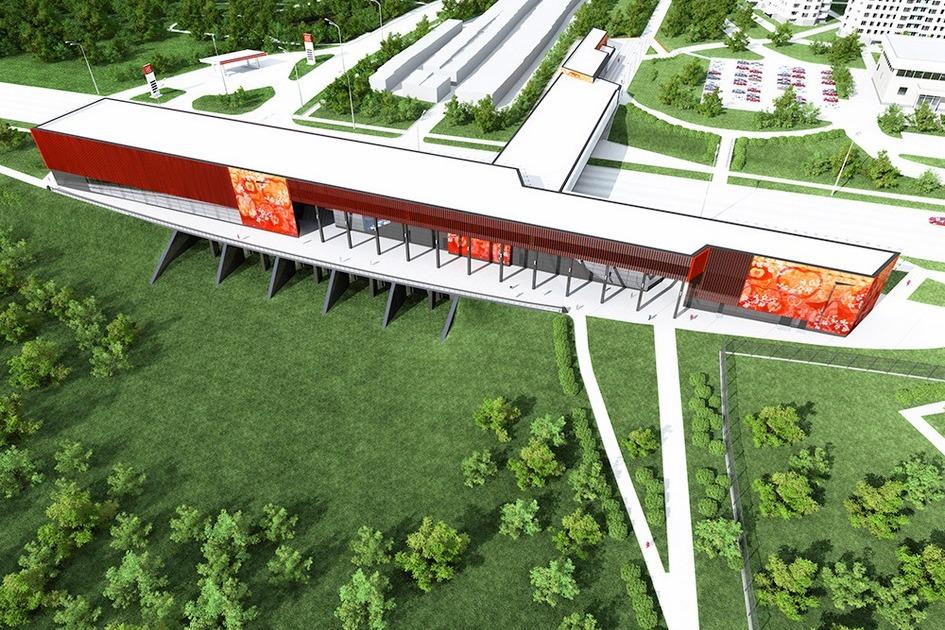 Проект станции метро «Мичуринский проспект». Вид состороны природной территории реки Очаковки