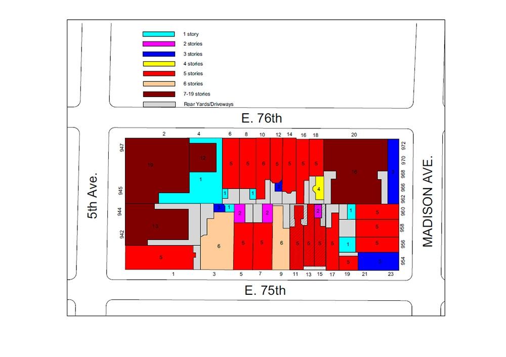 Схема нью-йоркского квартала, где находятся дома Абрамовича. Россиянину принадлежат здания номер 11, 13 и 15 (отмечены красным)