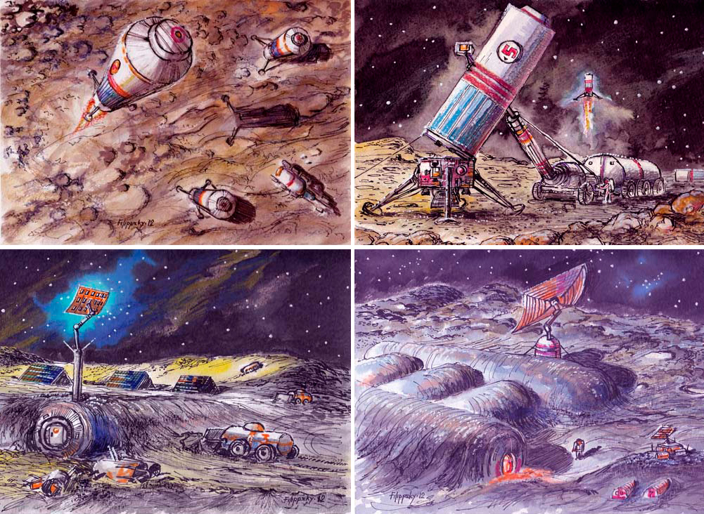 Художественное видение лунной базы «Звезда»