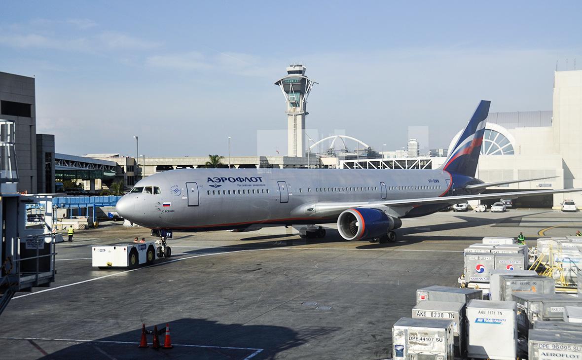 Боинг-767 авиакомпании «Аэрофлот» в Международном аэропорту Лос-Анджелеса. Калифорния, США.