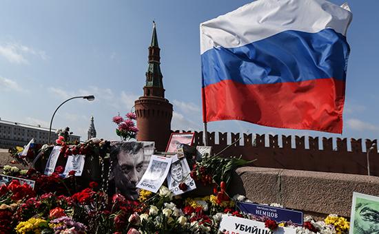 Место убийства Бориса Немцова на Москворецком мосту