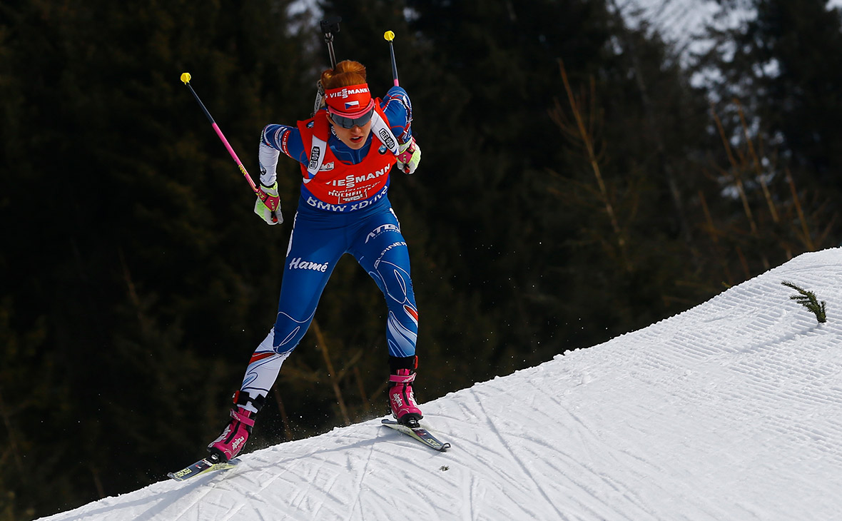 Чешская лыжница на чемпионате мира по биатлону. 2017 год