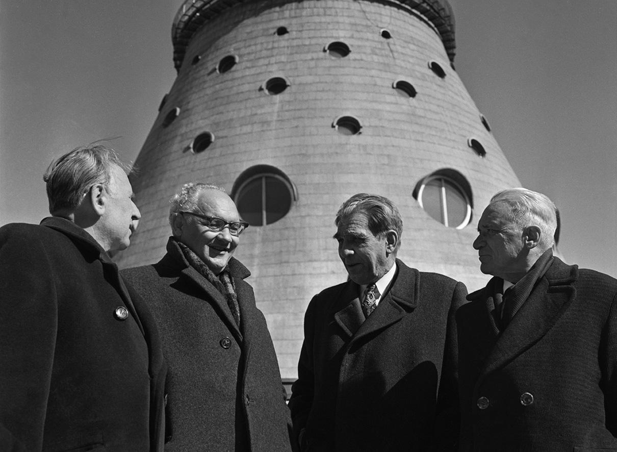 В 1959 году главным конструктором башни был назначен Николай Васильевич Никитин. Над проектом также работали архитекторы Леонид Баталов, Дмитрий Бурдин, Лев Щипакин и инженеры Борис Злобин и Моисей Шкуд