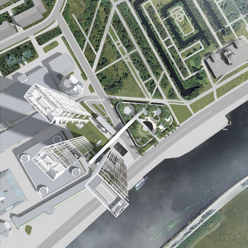 Подиум станет местом пересечения пешеходных маршрутов, которые свяжут территорию «Москва-Сити» спарком «Красная Пресня», следует изпояснительных материалов архитекторов (есть враспоряжении редакции)