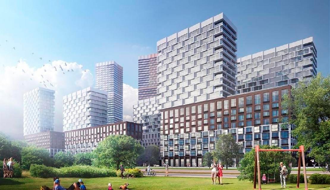 ЖК «Событие»  Концепцию проекта разрабатывали британские архитектурные бюро LDA Design и UHA London. В комплексе представлены уникальные форматы жилья с лаундж-зонами и безрамным остеклением, двухуровневые квартиры. На верхних этажах расположатсяквартиры с террасами и пентхаусы площадью от 44 до 167 кв.м. Здесь установят широкоформатные и панорамные окна, высота потолков варьируется от 3,1 до 6,4 м