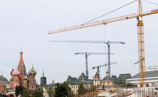 Москва. На строительной площадке парка «Зарядье» на месте снесенной гостиницы «Россия»