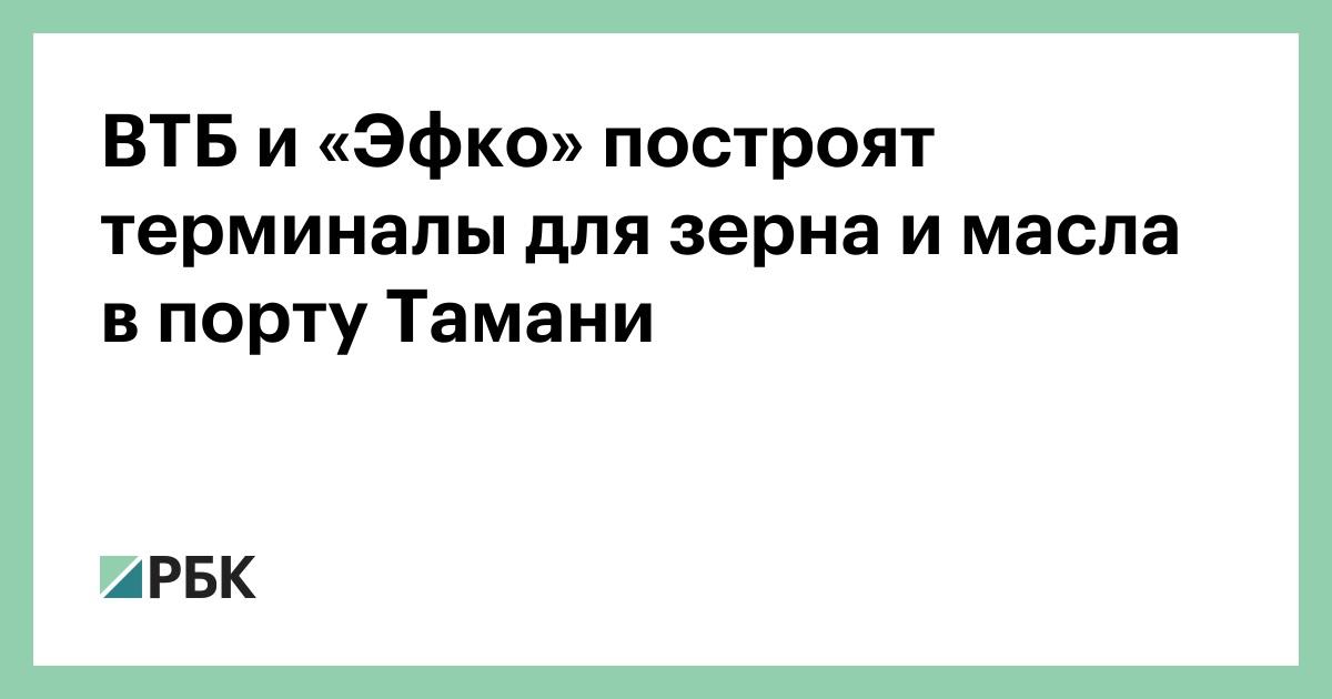 ВТБ и «Эфко» построят терминалы для зерна и масла в порту Тамани