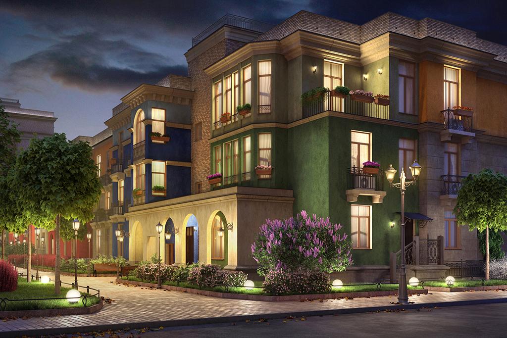 Первые два уровня будут выполнены в неоклассическом стиле: с разноцветными фасадами, балконами, колоннами и арками. На первых этажах расположатся магазины, банки, точки бытового обслуживания